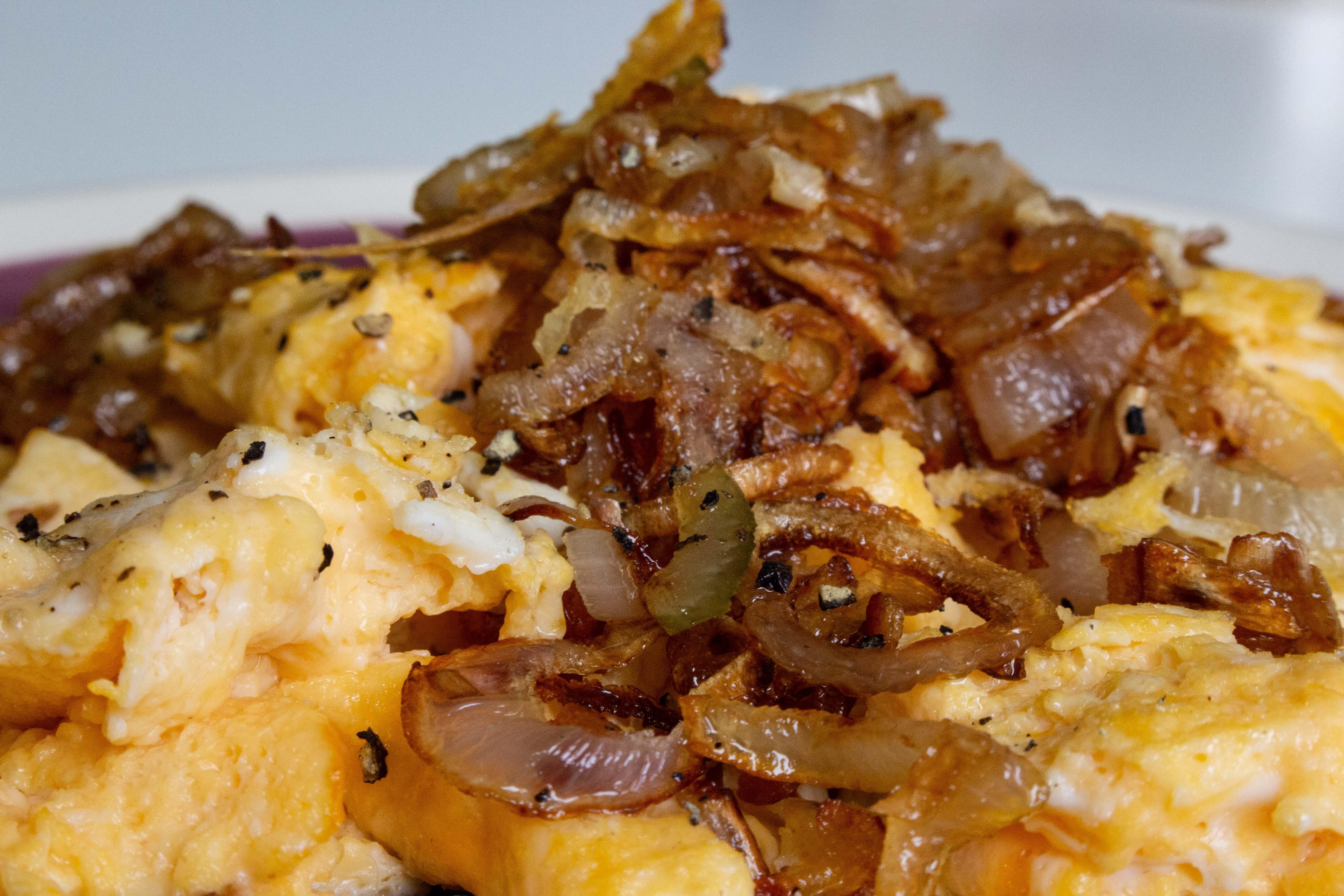 caramelized shallotts on scrambled eggs