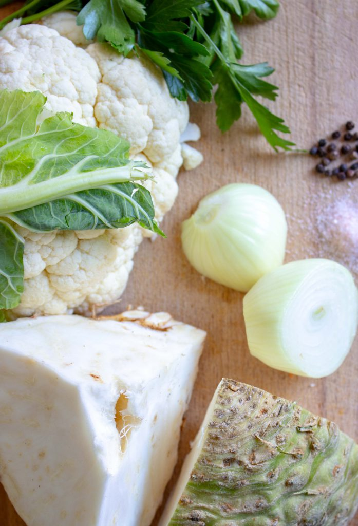 Ingredients cauliflower and celery puree