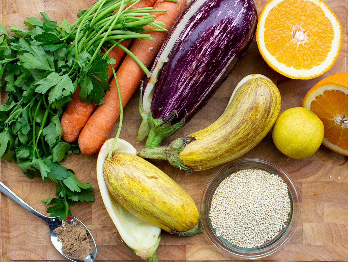 auberginen, Orangen, Zitronen, quinoa, Karotten, Petersilie, gemischtes Gemüse