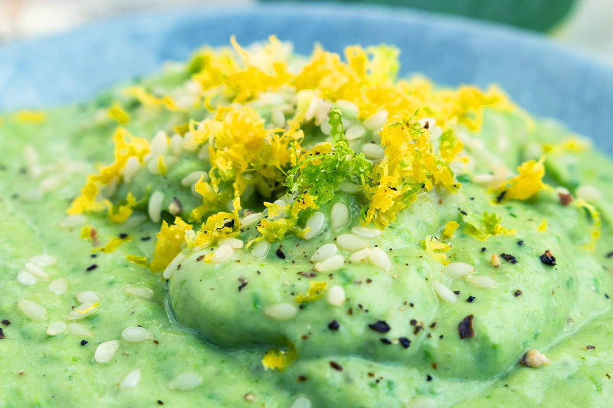 auberginendip, grüner Dip, Veganer Dip