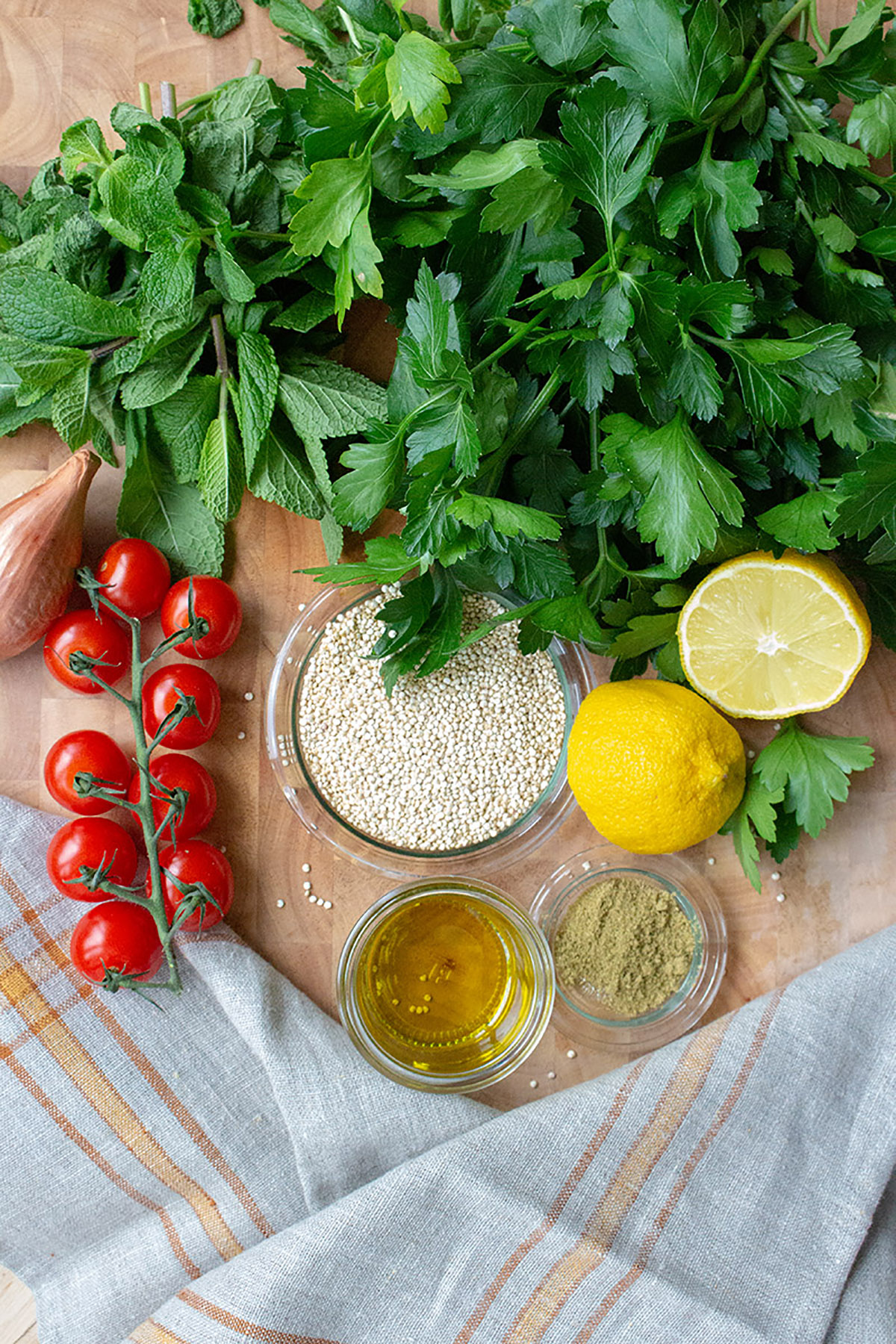 ingredients quinoa mint taboulé
