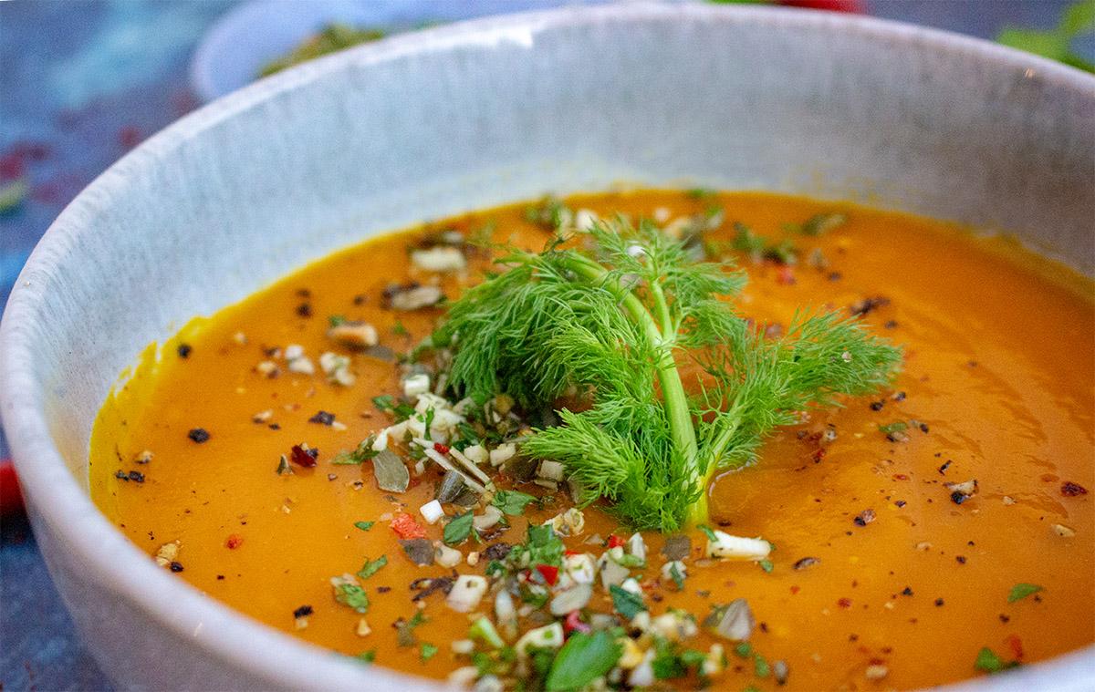 vegane Gerichte, Kürbissuppe, Kürbis-Fenchelsuppe, Gerichte mit Fenchel, fennel, fennel recipes