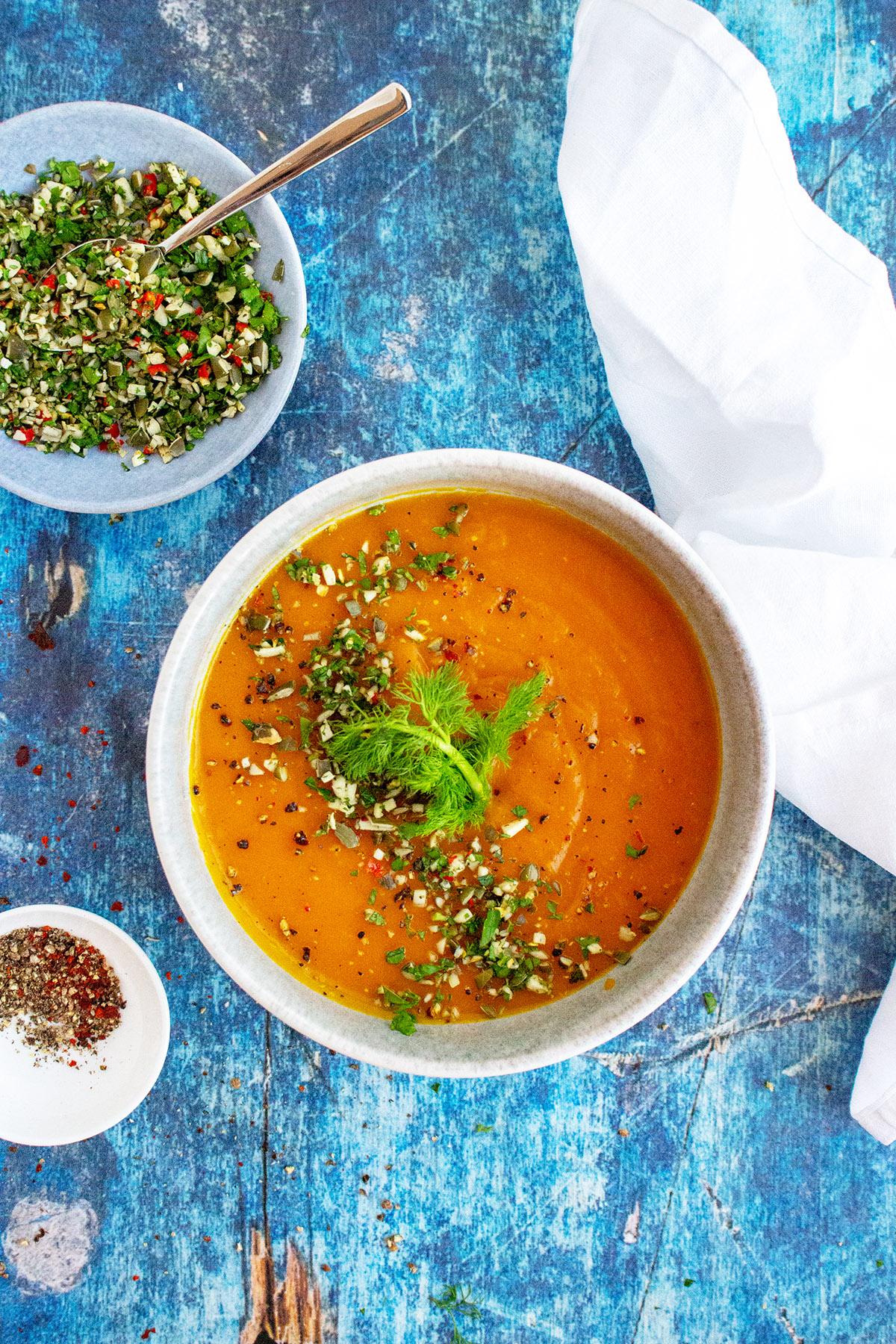 Kürbissuppe, Pumpkin soup, Gremolata