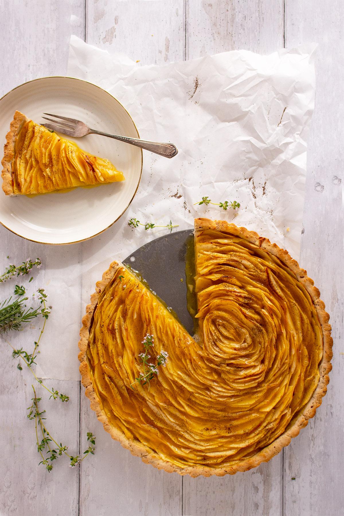 französische Apfeltarte, glutenfreier Apfelkuchen, gluten free apple cake, glutenfreier kuchen, tarte aux pommes sans glutene, French Apple Thyme Tart