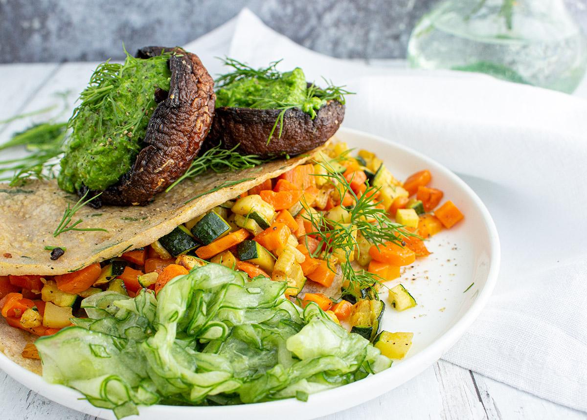 Portobello Pilze, veganes Bärlauchpesto