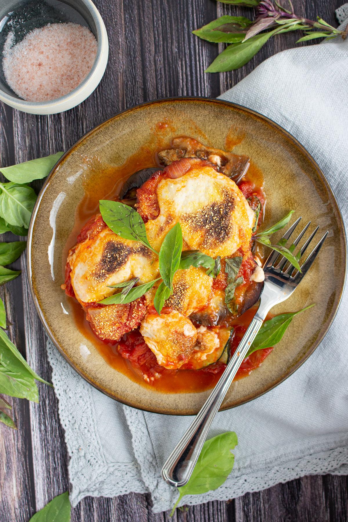 Auberginen Parmigiana mit veganem Käse, Veganer Käse